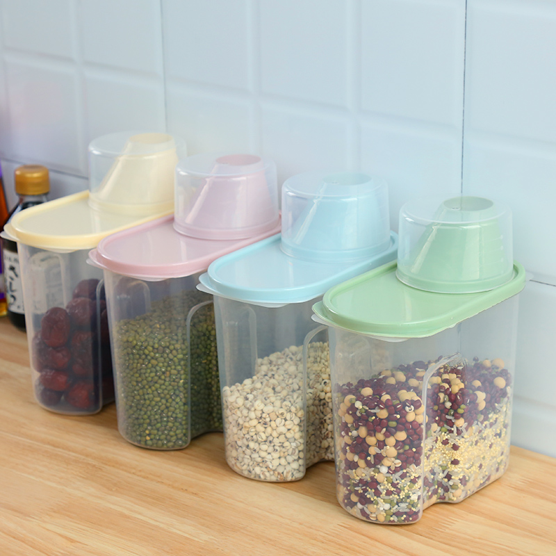 Image 3 - PP Food Storage Box Plastic Clear Container Set with Pour Lids Kitchen Storage Bottles Jars Dried Grains Tank 1.9L 2.5L H1211-in Storage Bottles & Jars from Home & Garden