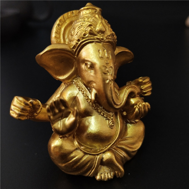 Gold Lord Ganesha Buddha Statue Elephant God Sculptures Ganesh Figurines Man-made Stone Home Garden Buddha Decoration Statues 5