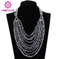 Fabulous Grey Gray Baroque Freshwater Pearl Necklace 10 Layers Pearl Beads Bib Wedding Necklace for Women Free Shipping FP153