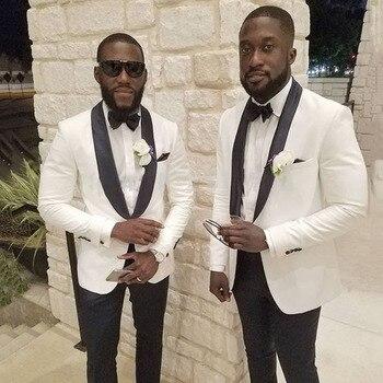 White Wedding Men Suit Blazer Groom Tuxedo Black Shawl Lapel 2Piece Custom Made Costume Mariage Homme Slim Fit Terno Masculino