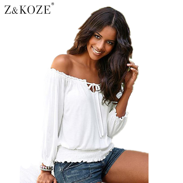 Z&KOZE 2016 Spring Sexy Womens Lady Solid Shirred Off Shoulder Tops Casual Lace up Blouse Shirt Plus Size Blusas Femininas