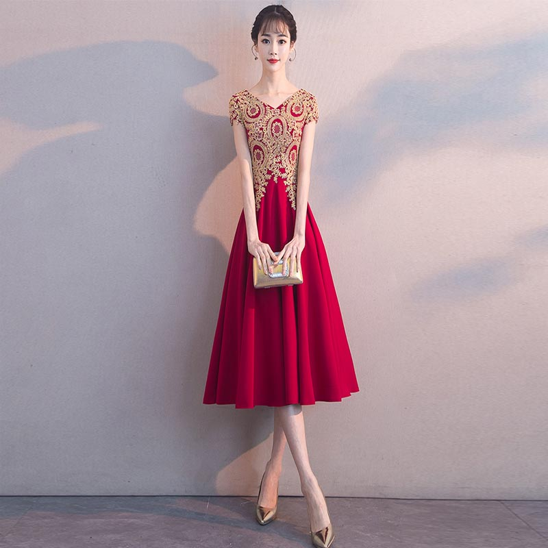 Cocktail     Dresses   Wine Red V-neck Sleeeveless Embroidery Tea Length Formal   Dress   Party Gowns Sukienka koktajlowa