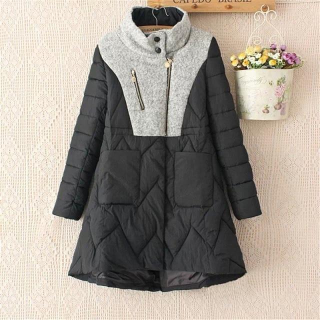 2016 New Leisure Fashion women winter coats Short Style Down Splice Jacket Patchwork Winter Coat Women Women A004