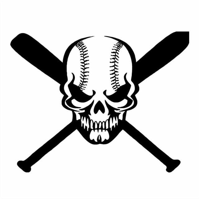 20 516 1cm skull baseball baseball racket sports vinyl car stickers motorcycle decals black