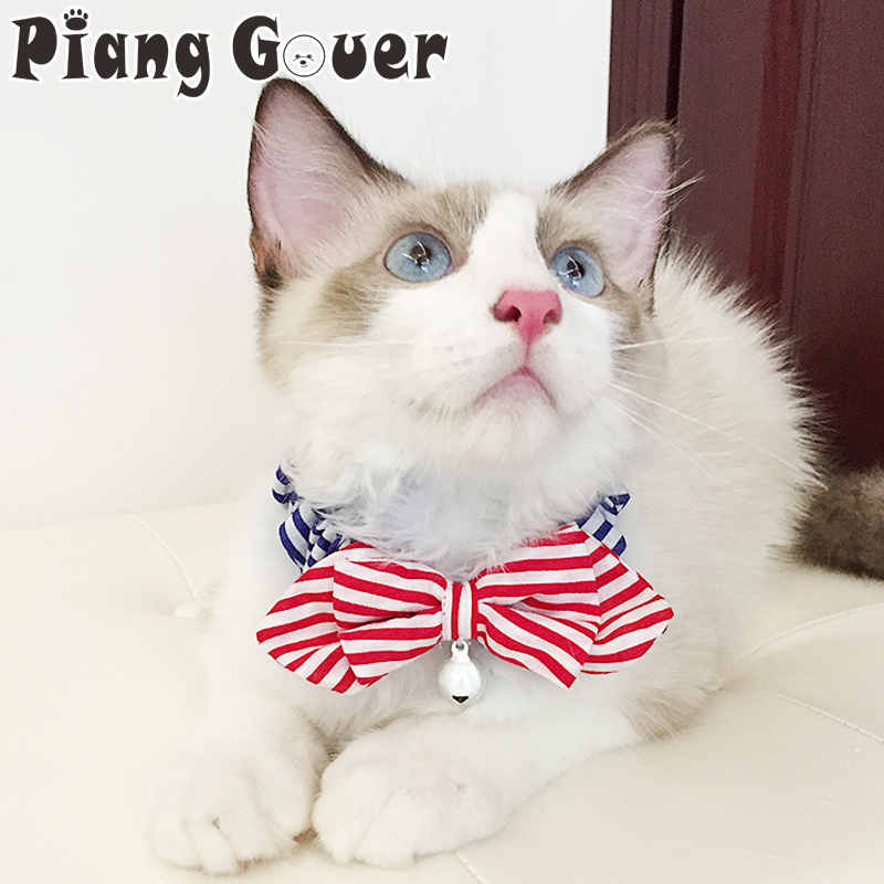 Bow Tie Striped Cats Collars Red Yellow Dot Cat Collar Pet Small Bell Accessories