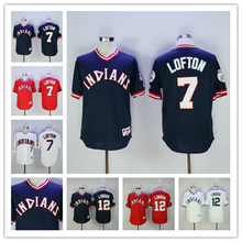 a5e15624a6c MLB Men s Cleveland Indians Jersey Kenny Lofton Francisco Lindor Baseball  Jersey Throwback White Red Blue Embroidery