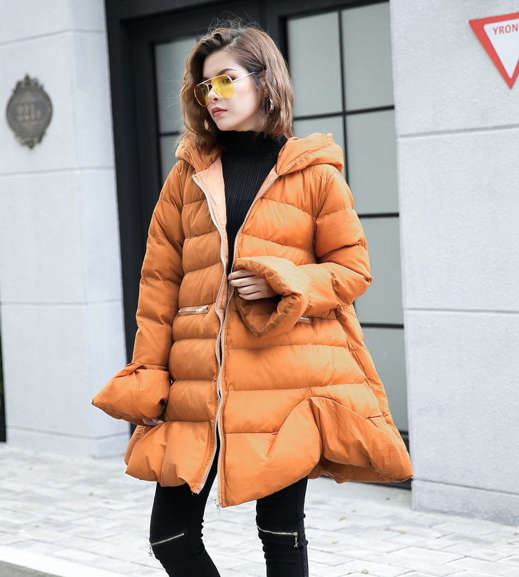 [IASK] 2017 Winter Clothes Loose Style New Pattern Hooded Cotton-padded Coat Solid Color Keep Warm Jacket Tide Women YA579 casual style head portrait pattern loose hooded fleeces
