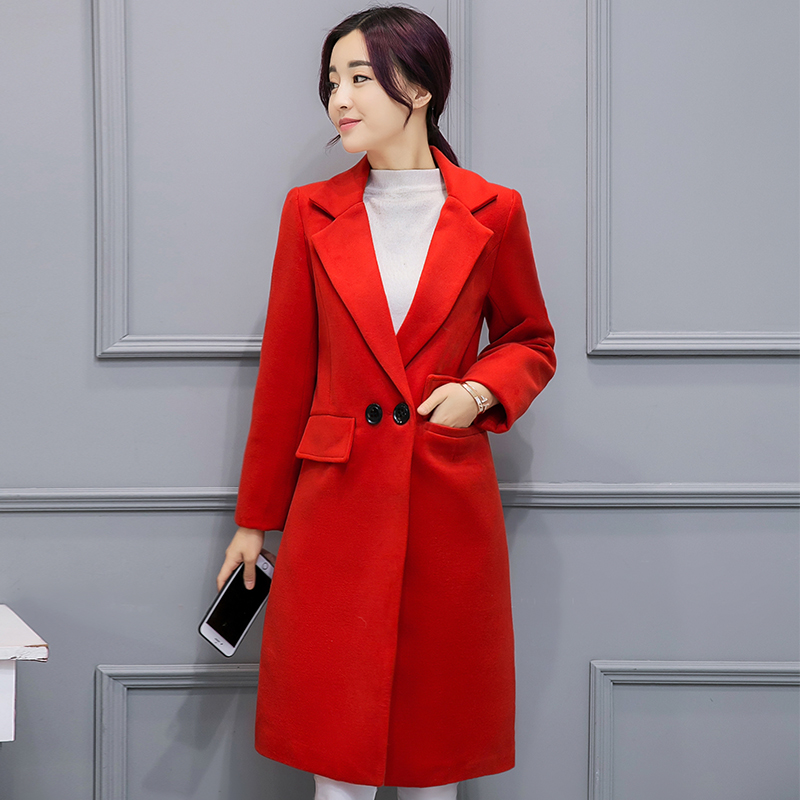 Rouge S Mince Style Un Longue Russe xxl Femmes Mode Taille Manteau A257 Nouvelle Bouton Revers Bleu Plus Red blue 2017 Rose Laine La Tranchée qHwv8Ex