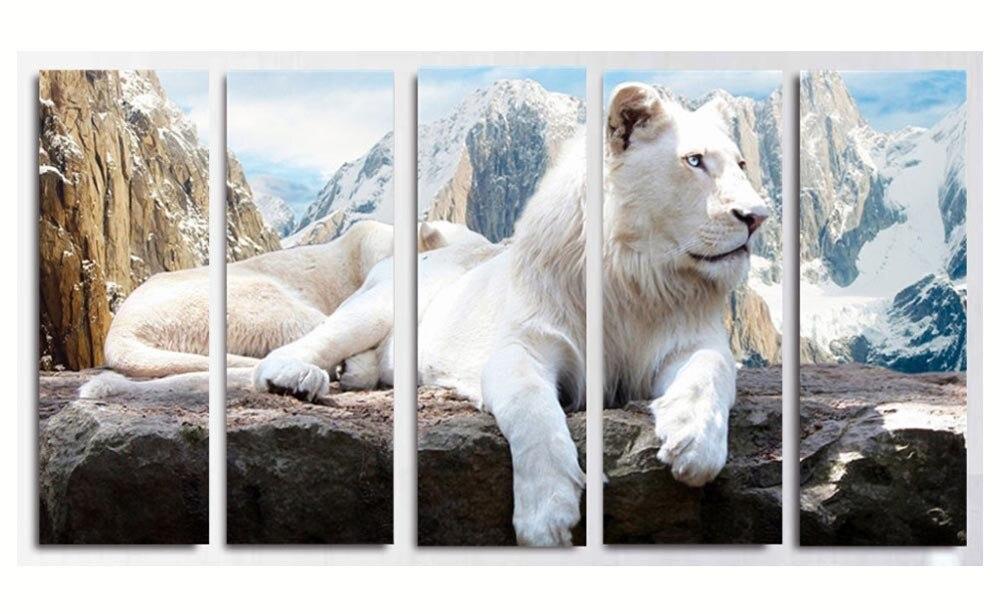 5 pièces toile peinture bricolage diamant broderie moderne lion Animal 3d diamant peinture tigre montagne paysage triptyque décor à la maison