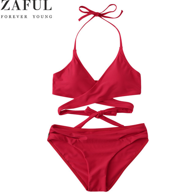 30ff918101 ZAFUL Bikini Set Summer Swimwear Biquini Women Sexy Beach Swimsuit Bathing  Suit Padded Halter Wrap Bikini Set Maillot De Bain