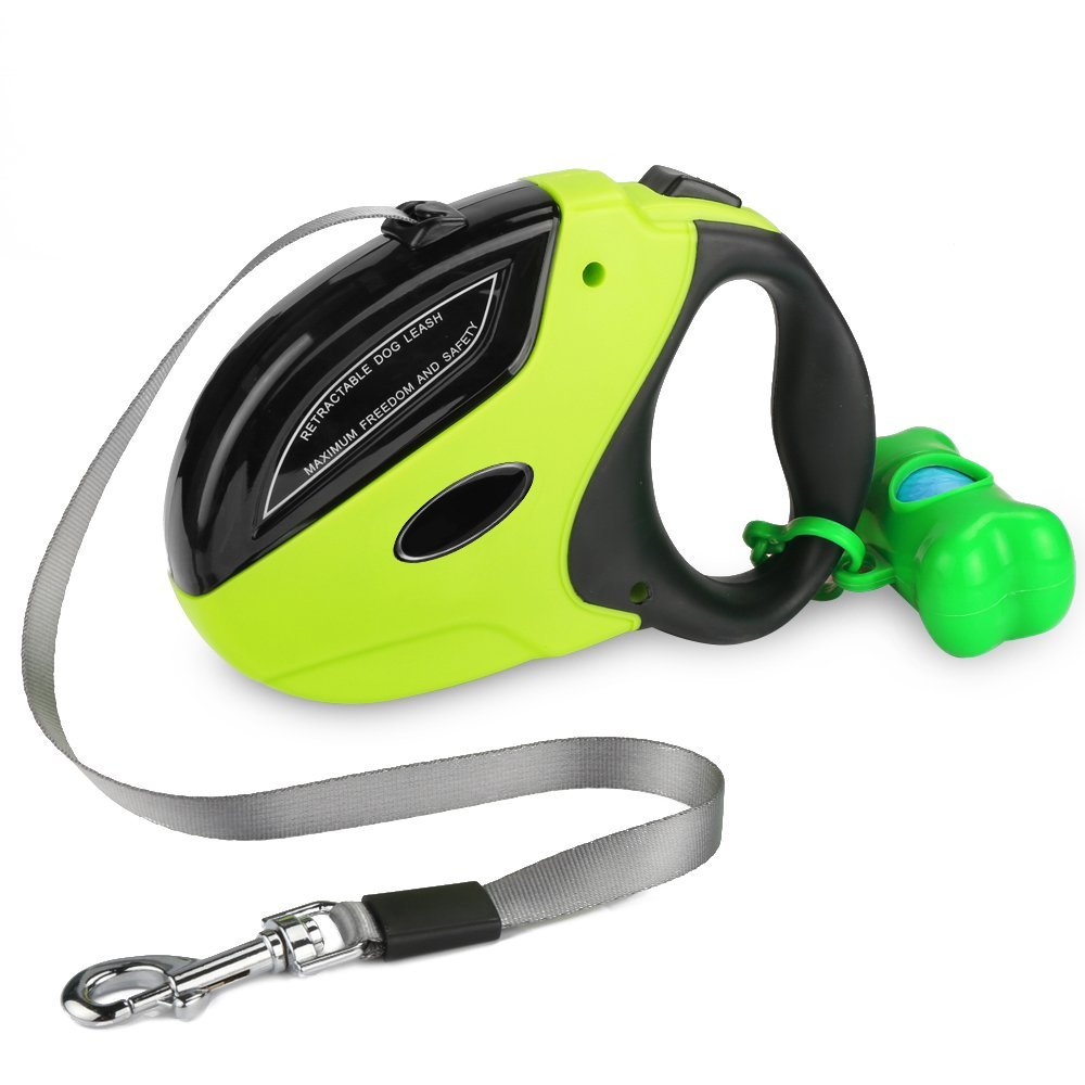 5m One-handed Lock Retractable Dog Leash Nylon Extending Walking Leads Leash Running Led Dog Leashes for Large Dogs Tangle