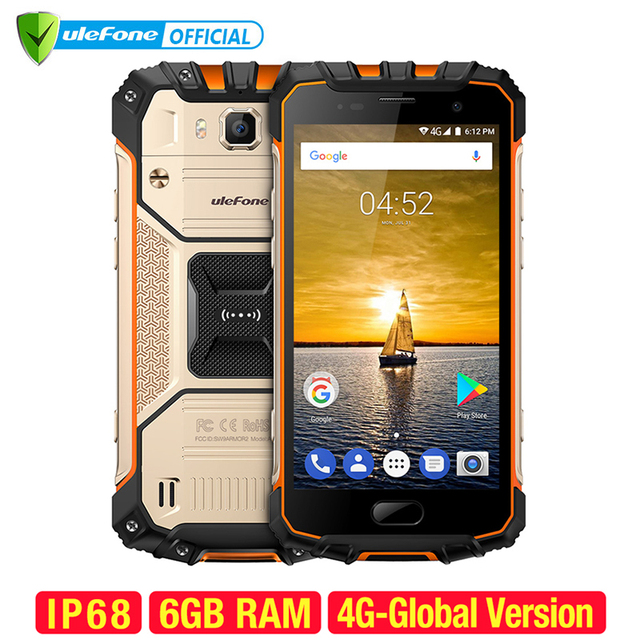 Ulefone Armor 2 Waterproof IP68 Mobile Phone 5.0 inch FHD MTK6757 Octa Core Android 7.0 6GB RAM 64GB ROM 16MP Cam 4G Smartphone