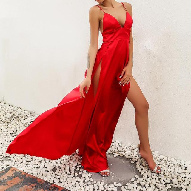 KANCOOLD dress High-Split Maxi Sexy Women Solid Evening Party Dresses Clubwear Long Sleeveless dress women 2018jul31 4