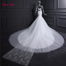 Taoo Zor New Fashion Lace Mermaid Ivory Wedding Dresses Appliques Beaded Sequined Chapel Train Bridal Gown Custom Size