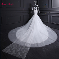 Amdml High Quality New Fashion Lace Mermaid Ivory Wedding Dresses Appliques Beaded Sequined Chapel Train Bridal