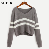 SHEIN Striped V Neck Crop Sweater 2017 Grey Casual Loose Pullovers Woman Autumn Drop Shoulder Long
