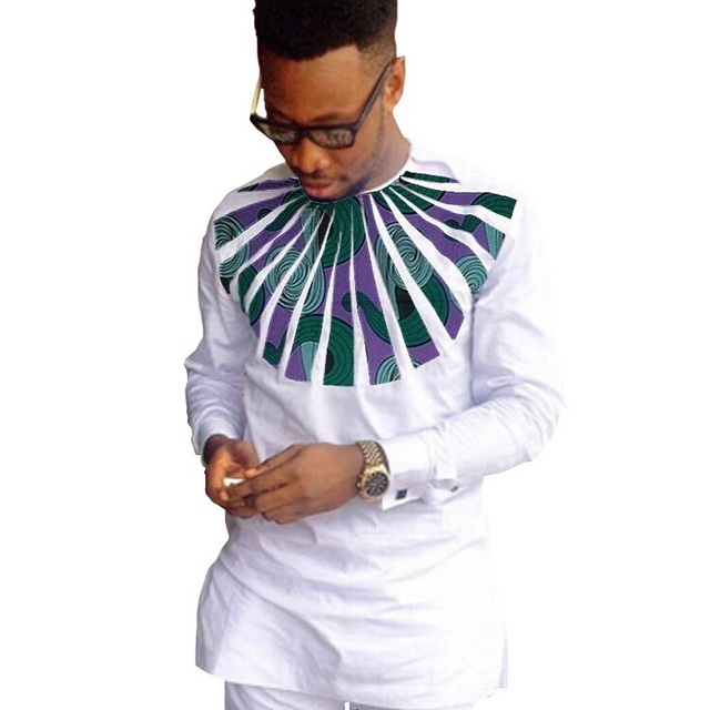 African fashion shirts men ankara print long sleeve dashiki shirts white cotton and wax patchwork o-neck top of africa clothing 2