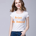 Print On Demand Custom Logo T shirt women Summer 2017 Women tshirt brand Plus size t-shirt Organic Cotton Turtleneck Tops