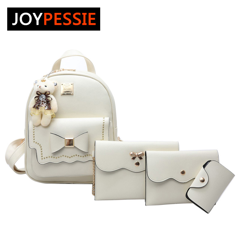JOYPESSIE Fashion Composite Bag 4pcs Set Bag Pu Letter Bag Women Cute School Backpacks For Teenage