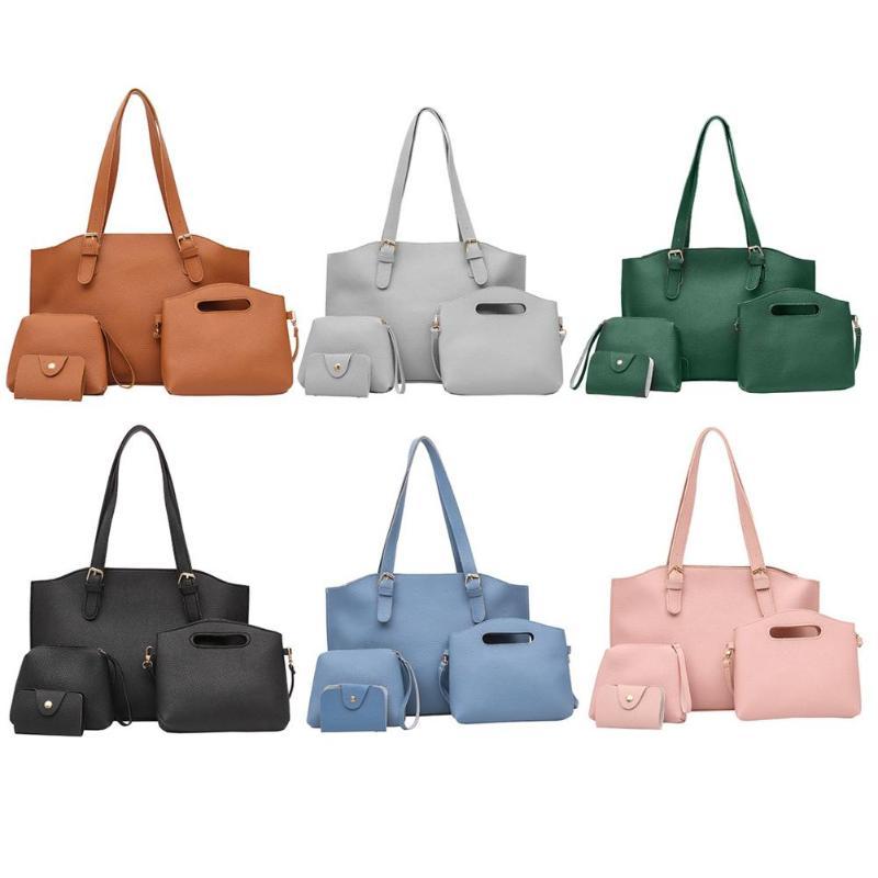 4pcs/Set PU Leather Composite Bags Fashion Women Handbag Famous Brand Shoulder Bag Bolsa Femina Women Messenger Shoulder Bags pongwee 2017 women messenger bags handbag set pu leather composite bag women bag top handle bags female famous brand