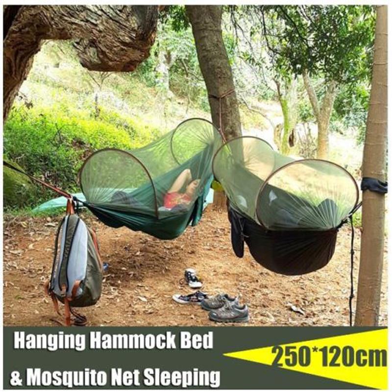 Tewango Portable Hammock With Mosquito Net Camping Survivor Hammock Auto Openning Outdoor Swing Bed 250 * 120cm