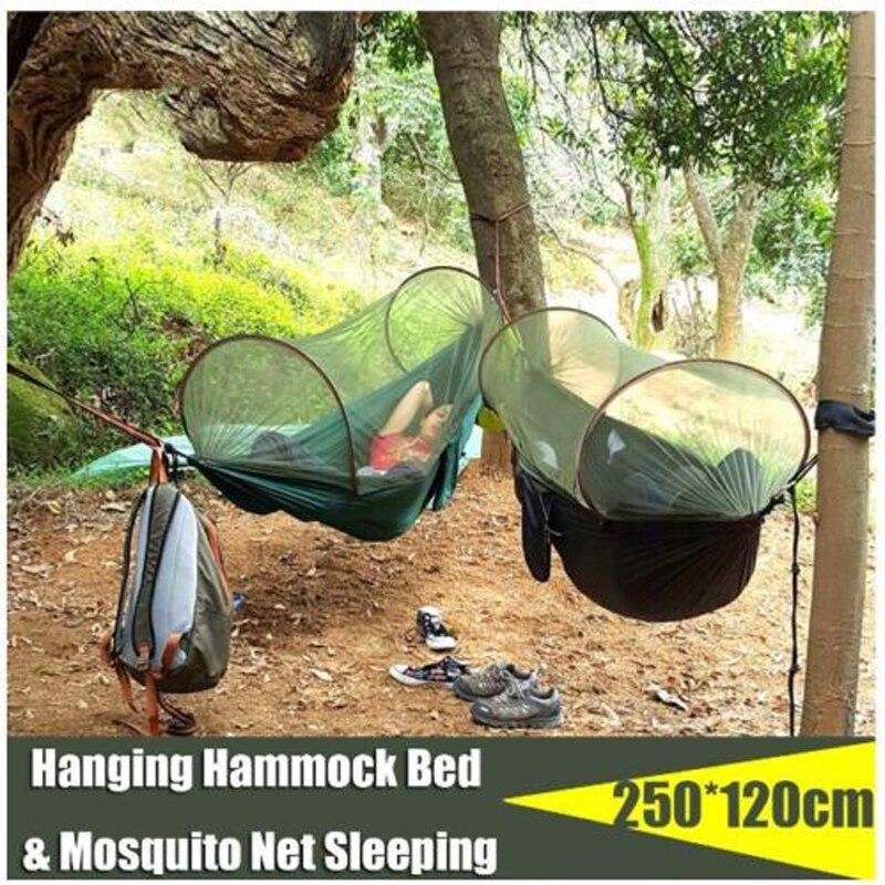 Tewango hamac Portable avec moustiquaire Camping survivant hamac Auto ouverture en plein air balançoire lit 250*120 cm