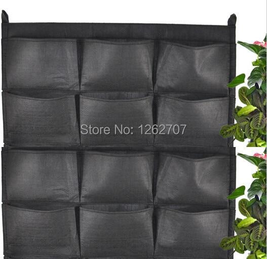 12 τσέπες NEW Felt 1PC Εξωτερική Κάθετη Κηπουρική Γλάστρες και Γλάστρες, Κρεμαστά Γλάστρες Στον Τοίχο Πράσινο Πεδίο 66 * 80cm
