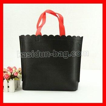 (100pcs/lot) size W32*H23*D8cm black non woven fabric reusable shopping bags with custom logo