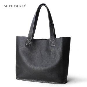 Image 1 - Sac à main en cuir véritable pour femmes, sac bonne qualité de luxe, sac de Shopping Simple pour dames, sacs épaule en cuir de vache de grande capacité décontracté