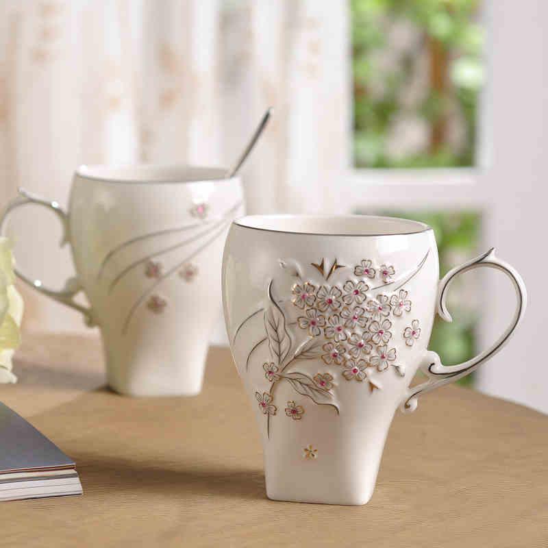 Drinkware 2016 Top Quality Bone China Coffee Mug Luxury <font><b>Royal</b></font> Style Ceramic <font><b>Cups</b></font> And CZ inlay gem Mugs