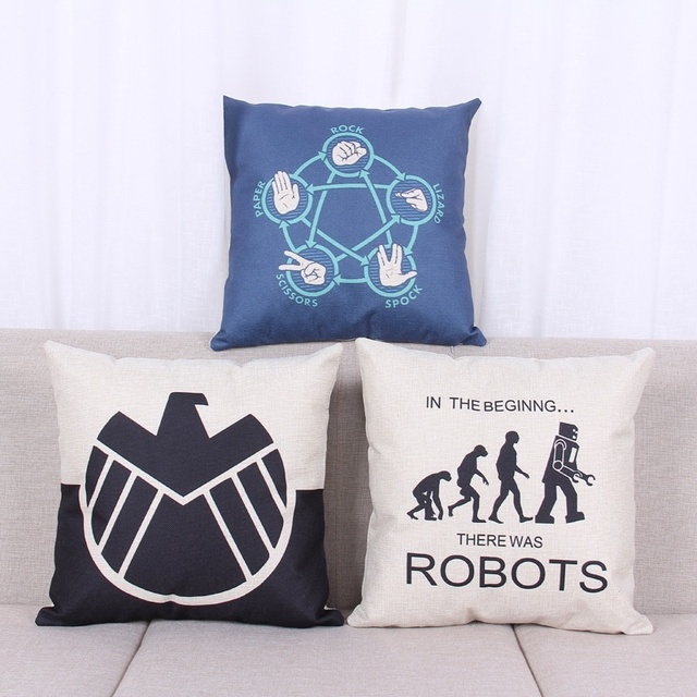 18 Inches Simple Style Cushion Cover The Bang Theory Pattern Cotton Linen Pillow