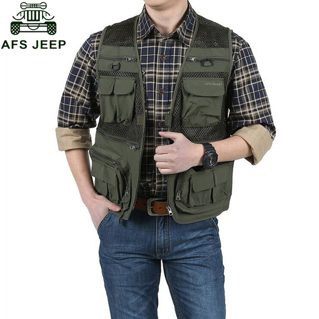 AFS JEEP Men Vest Multi-pockets Men's Casual Clothing Mesh Thin Photograph Director Slim Fit Waistcoat Hombre Free Shipping