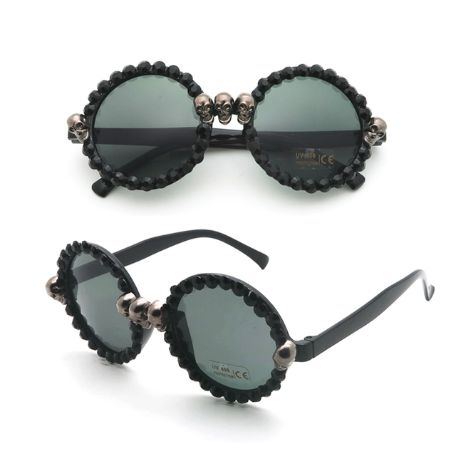 Women's Black Skull Rhinestone Sunglasses