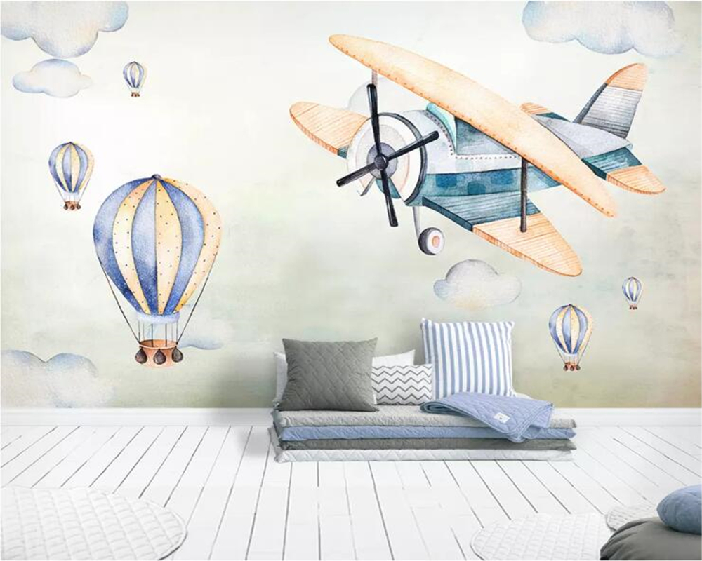 Beibehang Custom wallpaper mural Hand painted sky plane hot air balloon children room TV background wall wall paper home decor in Wallpapers from Home Improvement