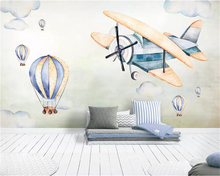 цены Beibehang Custom wallpaper mural Hand painted sky plane hot air balloon children room TV background wall wall paper home decor