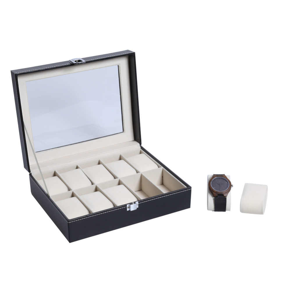 Hight Quality 10 Slots Cover Wood Watchesy Holder Organizer Watch Box  Case  Watch  Box for Save 10 Wrist Watches