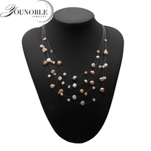 Real natural freshwater pearl necklace for women,beautiful multi layer statement colorful necklace anniversary gift 2017 new arrival natural pink freshwater pearl and baby pink shell flower statement necklace for women
