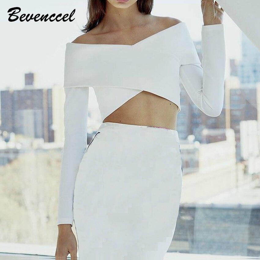 2019 haute qualité noir blanc haut pour femme croix épaule Bandage partie Crop hauts tricotés Vestidos moulante hauts