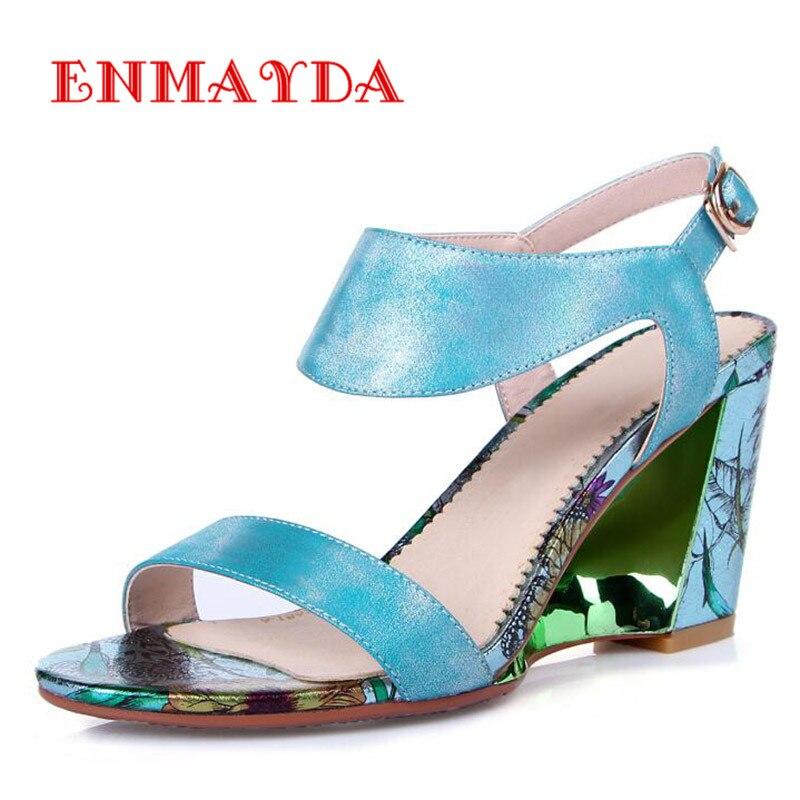 ФОТО ENMAYDA Wedges Sandals High Heels Women Sandals Elegant Summer Sandals Platforms Sexy Peep Toe Girl Fashion Shoes Sandals