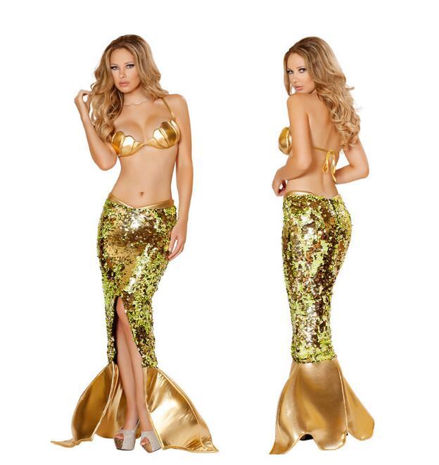 Sexy mer sirène Costumes Halloween sirène Costume adulte femmes soutien-gorge coquillage en forme de haut Deluxe Sequin sirène jupe