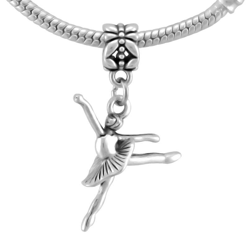 332e95ddd ... KING'S FAITH Silver Color Ballet Dancer & Ballet Lady Pendant Fit  Pandora Charms Bead Bracelets DIY ...