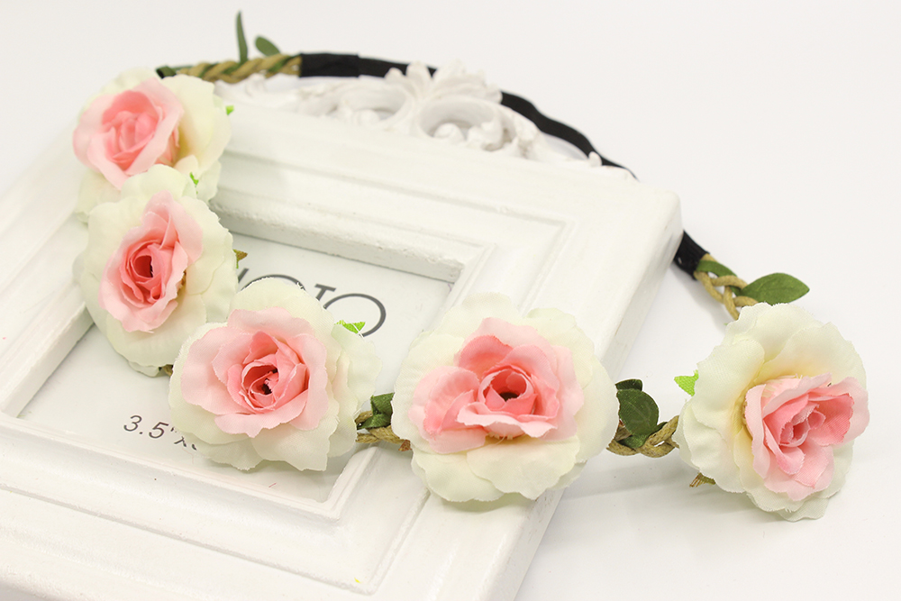 Bandas para el pelo de flores rosas amarillas diadema de novia boda fiesta de graduación Festival decoración princesa corona Floral tocado fotografía