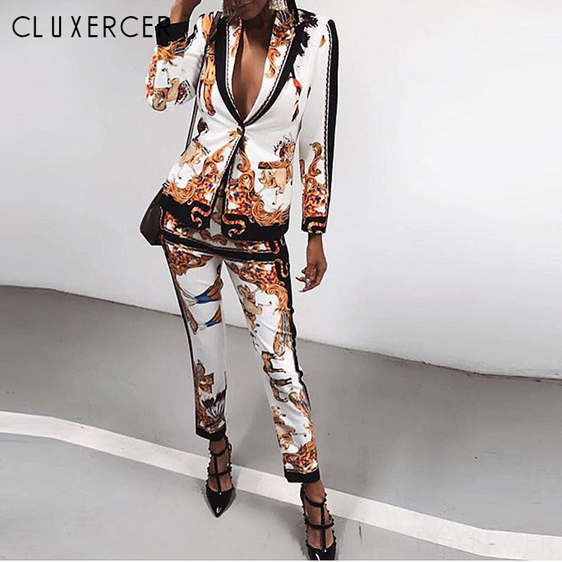 High Quautily Spring Pant Suits Women Casual Two Piece Set Blazer And Pencil Pants Suit Vintage Print Ladys Pantsuit