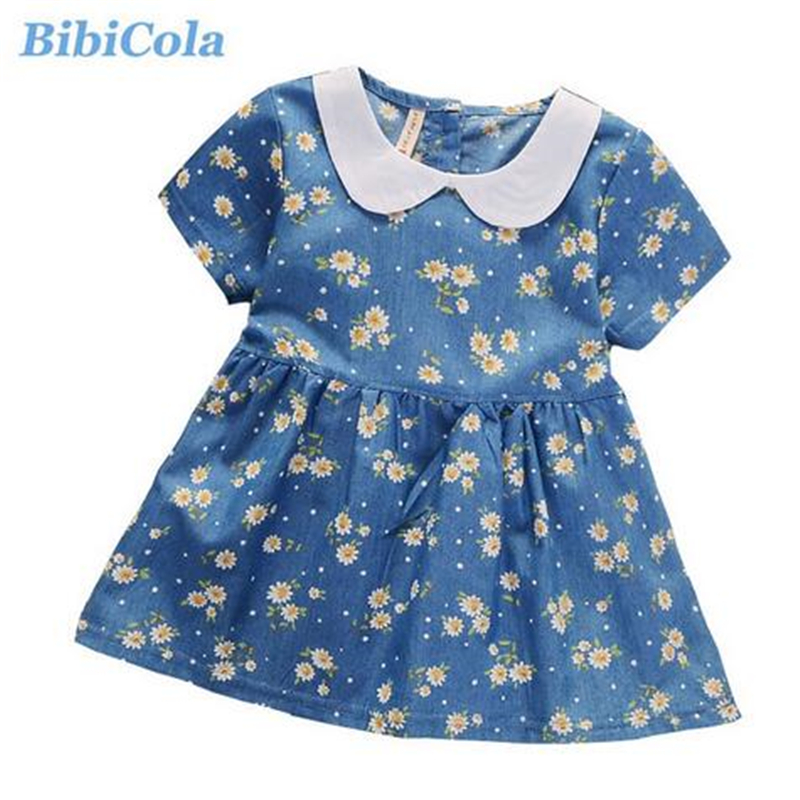 BibiCola Baby Girl Dress Bebe Cartoon Denim Dress 1 Piece Toddler Girl Clothing Infant Summer Casual Cotton Clothes For Girls bibicola cartoon children jeans dress baby girls cotton leisure overalls dress fashion toddler girl denim dress for summer