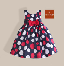 Hot Sale Dot Print Formal Dresses Girls Party Dress Vest Bow Kids Dresses Princess Girl Clothes Size 3-7Y