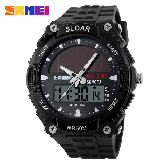 SKMEI Marca Hombres Deportes Relojes Multifunción de energía Solar Al Aire Libre Militar LLEVÓ el Reloj Digital de Moda Y relojes de Pulsera Analógico