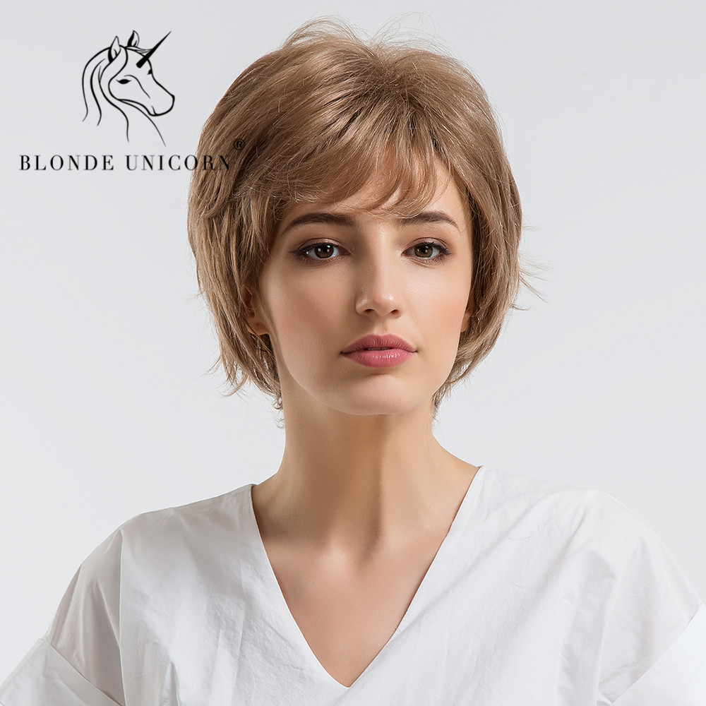 Hair Extensions & Wigs Blonde Unicorn 6 Inch Fluffy Short Straight Hair Wig With Bangs Dark Brown Natural Style 30% Human Hair Full Wig With Free Gift