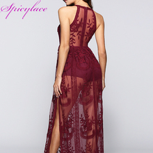 Women's Sexy Sleeveless Lace Maxi Dresses Wine Halter Neck Lace Hollow Out Print Summer Beach Vacation Lace Romper LBR038 цены онлайн