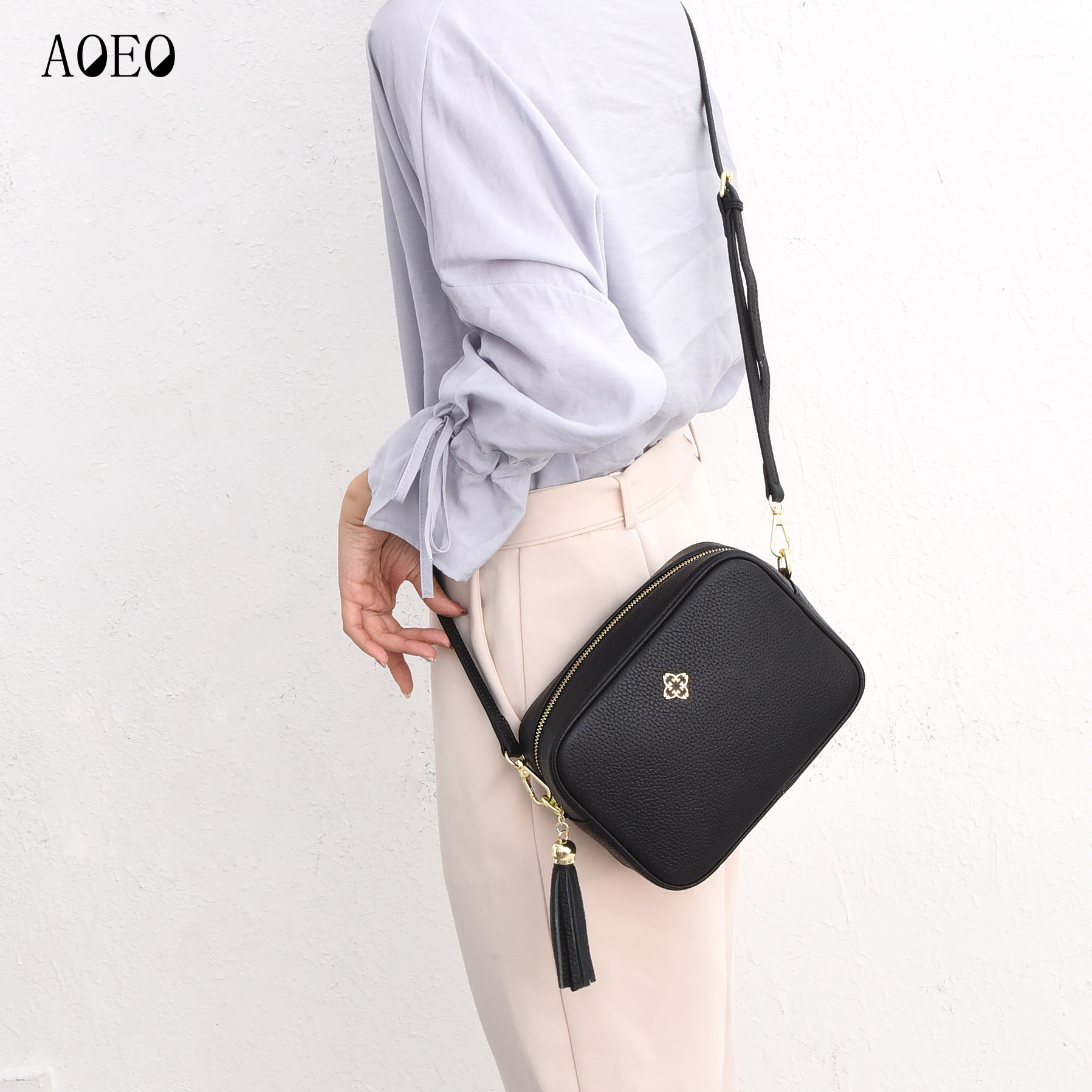 AOEO Ladies Crossbody Bag Luxury Handbags Women Shoulder Bags Designer Genuine Leather Big Calfskin Messenger Female Girls