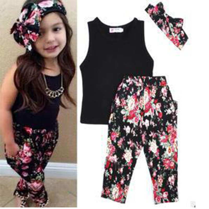 Girls Fashion floral casual suit children clothing set sleeveless outfit +headband 2021 summer new kids clothes set 3